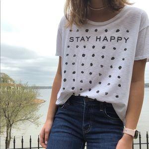Lucky Brand | Polka Dot 'Stay Happy' Tee